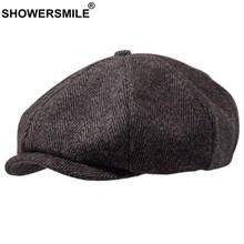 Showersourire marque laine gavroche casquettes hommes gris chevrons casquettes plates femmes café britannique Gatsby casquette automne hiver laine chapeaux(China)