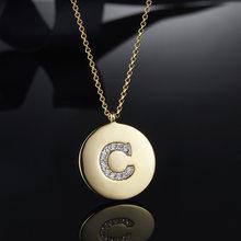 KALETINE 925 srebro małe litery naszyjniki dla kobiet/dziewczyna początkowy wisiorek złoty kolor z cienkim łańcuszkiem angielska litera biżuteria(China)