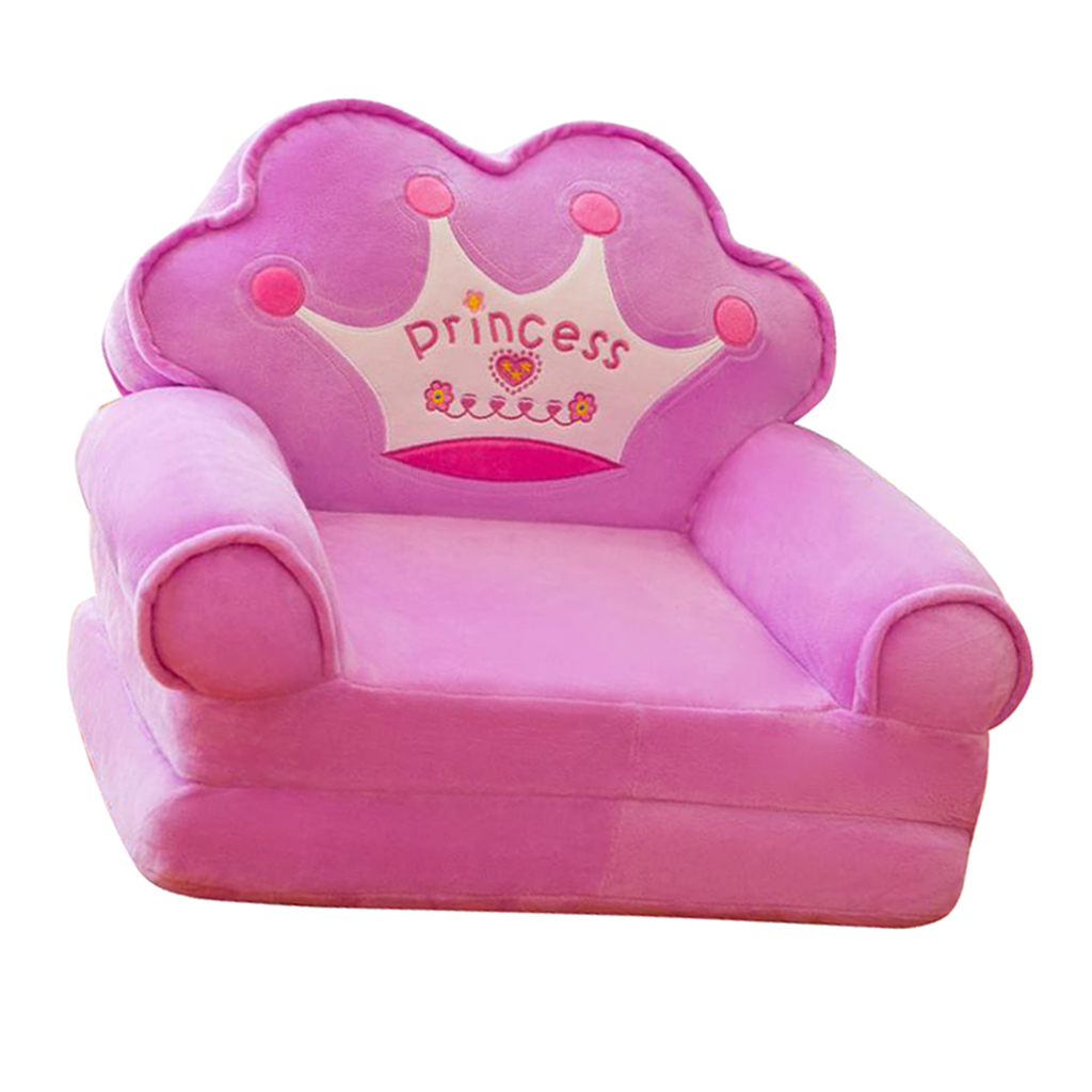 Princess Crown Armchair Cover Cute Cartoon Washable Children Fold Sofa Chairs Seat Cover Upholstered Living Room Furniture