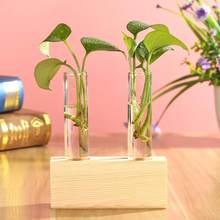 แก้วและไม้แจกัน Planter Terrarium ตารางเดสก์ท็อป Hydroponics พืชดอกไม้ Bonsai หม้อแขวนพร้อมถาดไม้ตกแต่งบ้า(China)