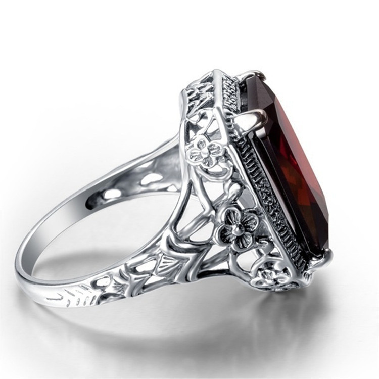 7.4ct Red Jade 925 Sterling Silver Engagement Solitaire Ring for Women