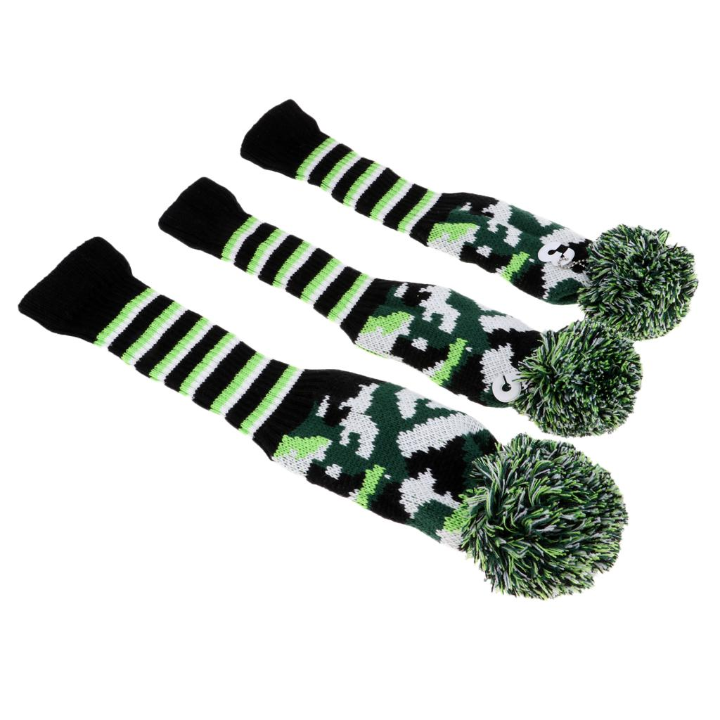 3Pcs Knitted  Headcover Wool Golf Club Head Covers For Driver Fairway