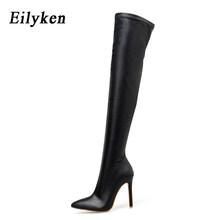 Eilyken Nữ Thời Trang Trên Đầu Gối Giày Loài Rắn Hạt Cao Giày Mũi Nhọn Dây Kéo Mỏng Giày Cao Gót Giày 2020 mùa Đông(China)