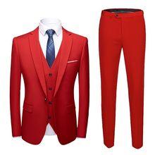 Новинка 2020, мужские свадебные костюмы, пиджак + жилет + брюки, мужские костюмы из трех предметов, приталенные мужские костюмы большого размер...(China)