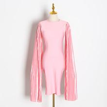 TWOTWINSTYLE סקסי Slim נשים של שמלות o צוואר ארוך שרוול גבוהה מותן ruched פיצול שמלת לנקבה 2019 אופנה בגדים גאות(China)