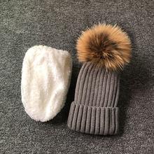 2019 chapéu do inverno para o menino meninas de Alta qualidade adicionar veludo chapéus set 100% natural fur pompom chapéus do miúdo QUENTE gorro capô(China)
