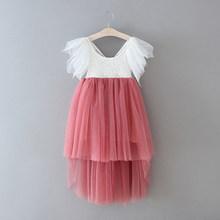 Кружевное платье с цветочным узором для девочек; Новинка 2020 года; Стильное газовое платье принцессы с расклешенными рукавами для свадебной ...(China)