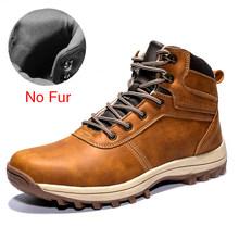 DEKABR kış sıcak erkek botları hakiki deri kürk artı erkek kar botları el yapımı su geçirmez çalışma yarım çizmeler yüksek Top erkek ayakkabısı(China)