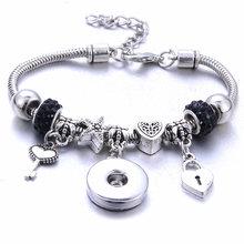 Novo preto snap button pulseira prata lagosta fivela cobra corrente pulseiras frisado snap pulseira caber 18mm botões de pressão jóias(China)