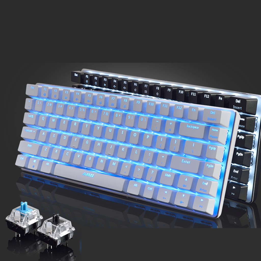 Ajazz AK33 Mechanical Gaming Keyboard for PC with Ergonomic Cool LED Backlit Design blue / black Switch Wired Keyboard