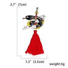 Vintage Kelinci Fox Ular Holding Pedang Rusa Hewan Gaya Cina Merah Rumbai Paduan Minyak Kecil Lencana Enamel Pakaian Bros Set(China)