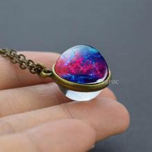 2019 חדש זכוכית כדור Galaxy כפול צדדי תליון שרשרת יקום Planet תכשיטי זכוכית תמונה בעבודת יד הצהרת שרשרת(China)