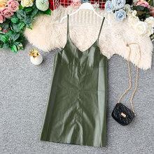 2019 חדש אביב קיץ אופנה עור מפוצל שמלת נשים מיני סקסי שמלת רוכסן שחור רצועת שמלות קיצי vestido דה festa טהור(China)