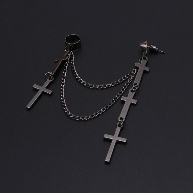 stud look graduated chain ear hook earring VARIOUS COLOURS punk rock gothic