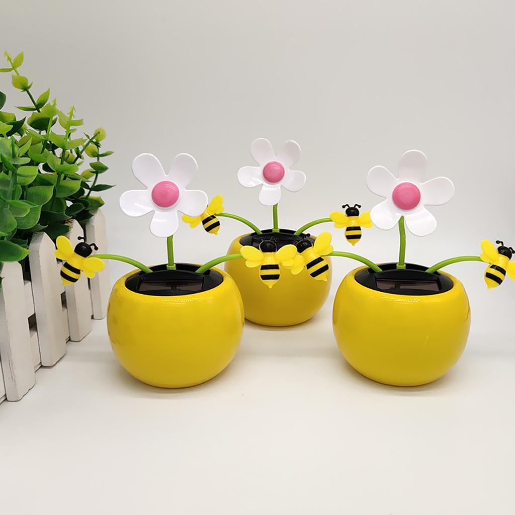 Yellow Adorable Solar Powered Bobble Insect Honey Bee Model Toy, Car Desk Decor Kids Birthday Xmas Gift
