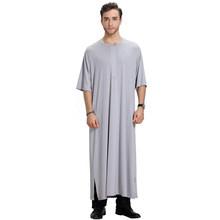 Muslim Pakaian Pria Arab Jubah Panjang Kurta Bahasa Swedia Thobe Pakistan Amle Pakaian Setengah Lengan Arab Dubai Kaftan Jubba(China)