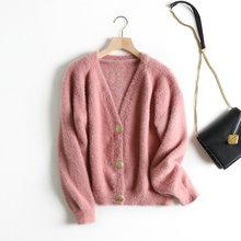 Tangada delle donne elegante bianco orsacchiotto cardigan maglione a manica lunga bottoni ufficio della signora molle knit maglioni top BC22(China)