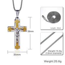 """Klasyczny męski krzyż naszyjnik dla mężczyzn ze stali nierdzewnej wyróżniający się naszyjnik Cruz biżuteria 24 """"Link Chain(China)"""