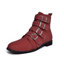COOTELILI 2019 seksi çizmeler kadın Zip siyah kırmızı deri yarım çizmeler toka orta topuk kısa çizmeler sonbahar kış için yüksek kalite(China)