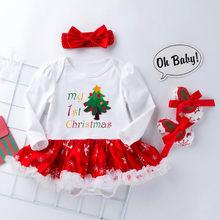 ילדי חג המולד ילדי סט 2019 חדש תינוקות תינוק בנות חג המולד הדפסת Romper טוטו שמלת גומייה לשיער סטי נעלי יילוד תלבושות(China)