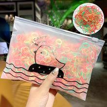 1000 шт./упак. для девочек цветные маленькие одноразовые резиновые резинки с завязками для тканью; прическа хвостик; в наличии; резинка для вол...(China)