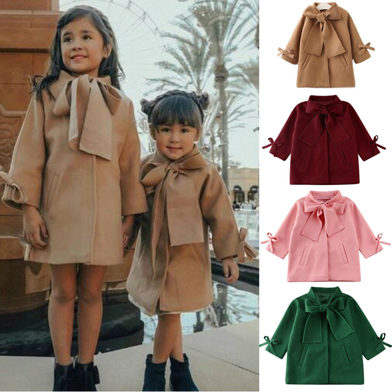 Evelin BEE Baby Girls Spring Fall Trench Coat Bowknot Loose Windproof Jacket Outwear