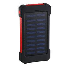 خزان طاقة يعمل بالطاقة الشمسية للماء 30000mAh شاحن بالطاقة الشمسية 2 منافذ USB الخارجية شاحن باوربانك ل Xiaomi الهاتف الذكي مع مصباح ليد(China)