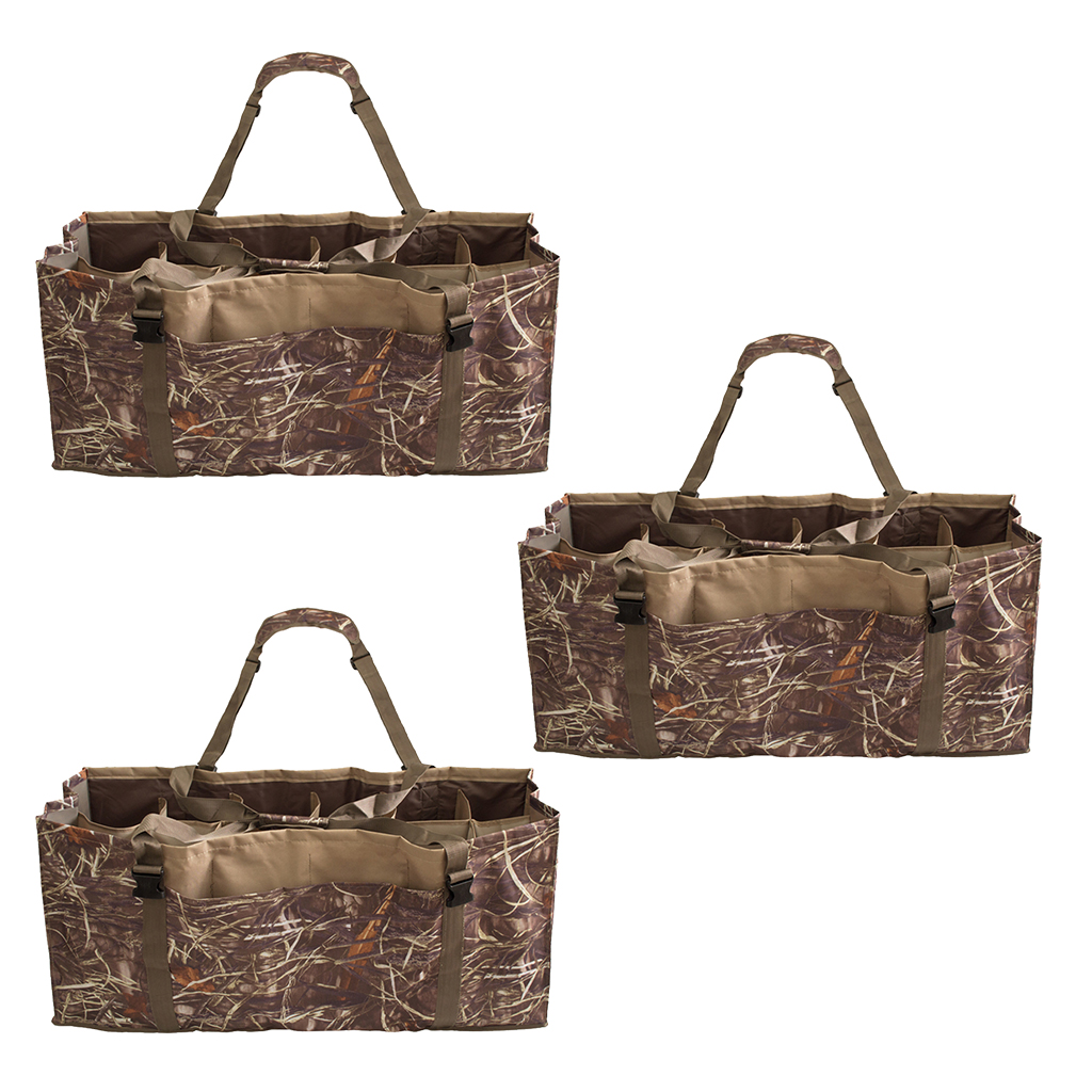 3 Pieces Hunting 12-Slots Floating Duck Decoy Bags With Adjustable Shoulder Straps