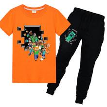 Vestiti dei ragazzi T-Shirt + pants 2pcs 2020 Nuova Estate Magliette e camicette Minecrafted Dei Vestiti di Stampa Del Bambino Del Bambino Magliette Scherza I Vestiti Delle Ragazze 8 a 12(China)