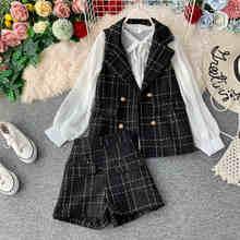 NiceMix, женское платье, костюмы, Осень-зима 2019, женская элегантная шифоновая рубашка с длинным рукавом + грубая твидовая жилетка + короткое плат...(China)