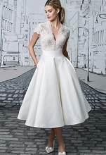 Vestido דה Novia V-צוואר קצר כלה שמלת Robe De Mariage אפליקציות תחרה תה אורך אשליה כלה שמלת חתונה קצר drsess(China)