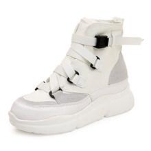 Fujin 2020 Hàng Mới Về Vải Mắt Cá Chân Giày Cho Nữ Móc Vòng Nền Tảng Giày Bốt Thời Trang Punk Đen Giày Flat Mùa Đông giày(China)