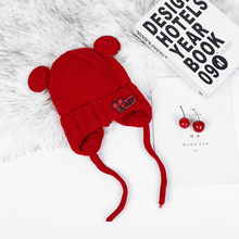Winter Children Hat Knitted Baby Girls Cap Cartoon Mickey Hat Boy Wool Caps Cute Pompom Baby Earmuff Hat For Kids 2-8 Years olds(China)