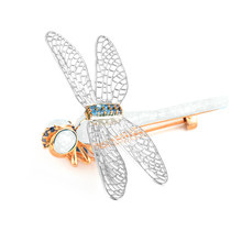Kinel Opal Dragonfly Bros Pin Mantel Sweter Piring Liontin Gesper Syal Imitasi Serangga dan Hewan Bros Perhiasan(China)