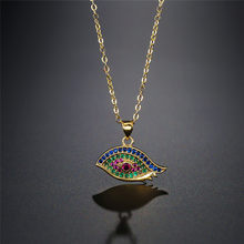 NEWBUY Evil Eye Necklace For Women Luxury Cubic Zirconia Pave Setting Jewelry Trendy Silver/Gold Link Chain Pendant Necklaces(China)