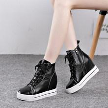 Echt Leer Vrouwen Laarzen Hoogte Toenemende Platform Enkellaars Wiggen Hoge Top Sneaker Casual Schoenen Vrouw Natuur Huid Botas(China)