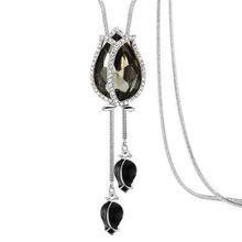 PINKSEE cristal tulipe pendentif collier Long gland fleur collier chandail chaîne mode sauvage bijoux pour les femmes(China)
