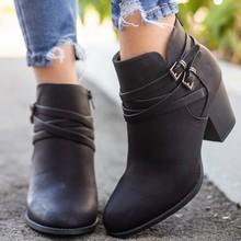 CYSINCOS çizmeler kadın toka PU ayakkabıları kadın kısa çizmeler kare topuklu moda sivri burun ayak bileği tüm maç nefes yeni(China)