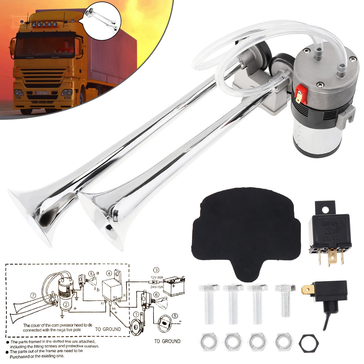 Air Horn Dual Trumpet Truck Boat Super Loud 12V Train Car Kit Compressor 178DB