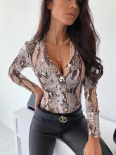 Sexy Deep V cuello Leopard Ladies Bodysuits Blusa de manga larga Body mujeres Satin mameluco Animal Print Body overoles para mujer(China)