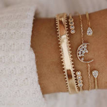 Modyle 5Pcs/set Bohemian Gold color Moon Leaf Crystal Opal Open Bracelet Set for Women Punk Boho Beach Bangle Jewelry Gift(China)