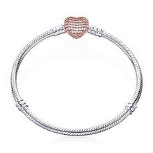 80% Off Buatan Tangan 925 Sterling Silver Rantai Ular Gelang Aman Hati Gesper Pesona Manik-manik Gelang untuk Wanita DIY Membuat Perhiasan(China)