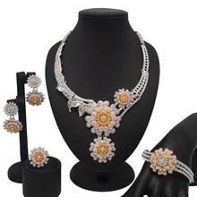 תכשיטים אפריקאים סטי דובאי זהב תכשיטי סטי חתונה כלה שרשרת סטי תכשיטים גדולים מבריק קריסטל(China)