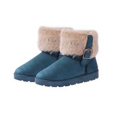 REAVE KEDI Kadın Kar kış Çizmeler Yuvarlak Ayak Düz Toka Kürk Peluş yarım çizmeler Çekin Anti Kayma Tutmak sıcak boyutu 36-40(China)