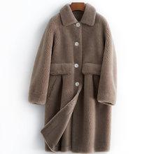 Abrigo de piel Real de Invierno para mujer Chaqueta larga de gamuza ropa de moda coreana 2020 grueso cálido esquilar ovejas abrigos B19F95447(China)