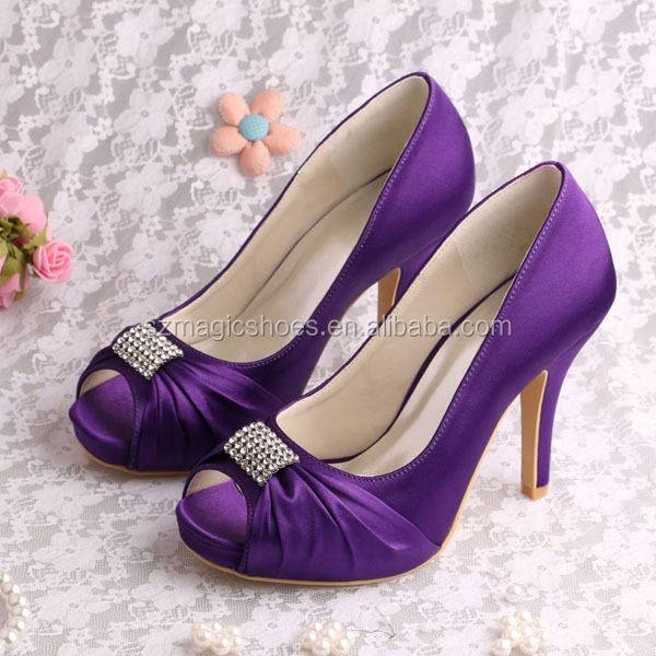 Wedopus New Design Shoes for Wedding Women Purple Heels with Platform Pumps Square Toe Dropship