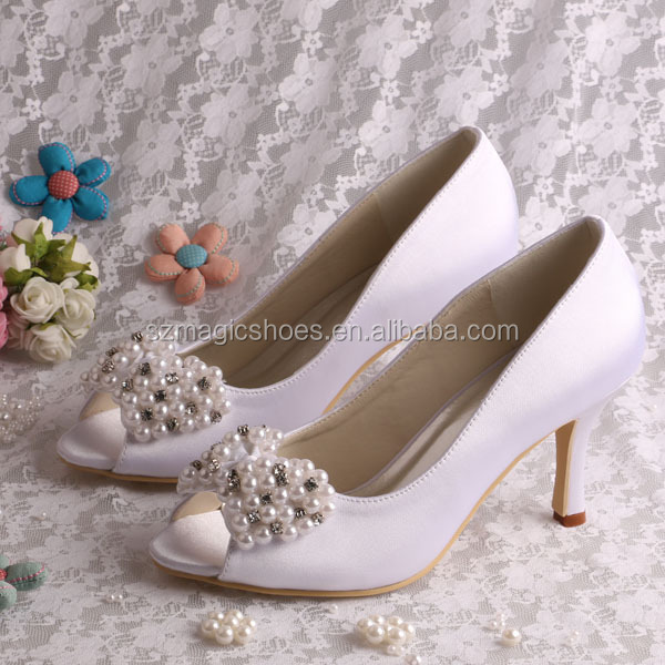 Women Shoes Wedding Elegant Pearls Bowknot Peep Toe Plus Size Heels Prom Shoes