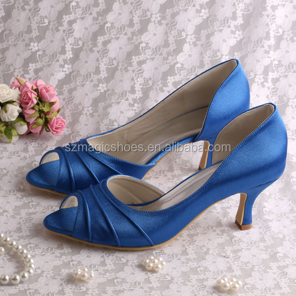 (20 Colors)Custom Handmade Blue Satin Party Prom Shoes Medium Heel 6.5CM Open Toe