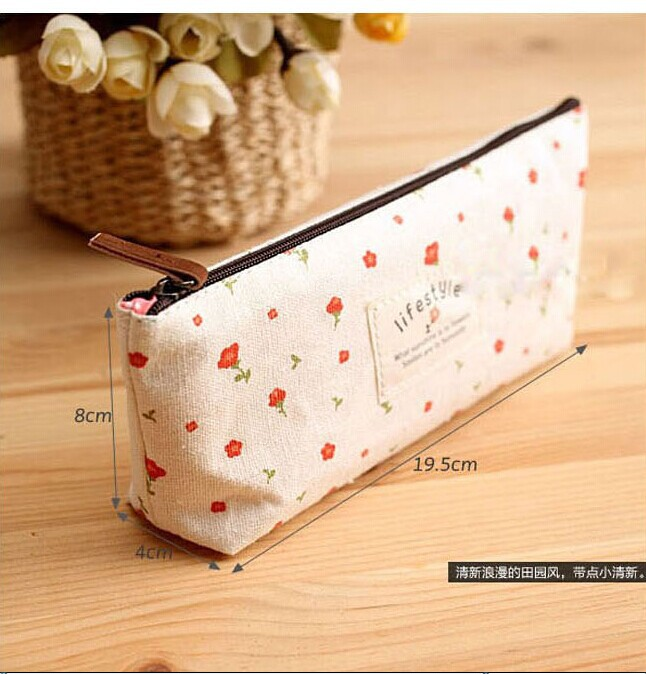 F940  Elegant  Rural Style Canvas  Printed  Pencil case  Zipper Pencil Bags writing case