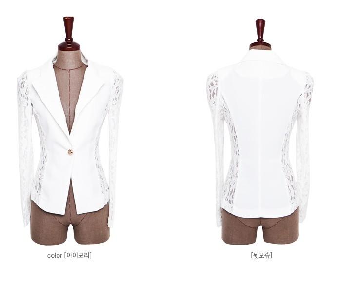 Пиджак с кружевом белый